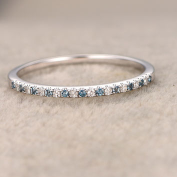 Blue Topaz and Diamond Wedding Rings 14k Rose Gold Thin Pave Half Eternity Band Annivery Ring