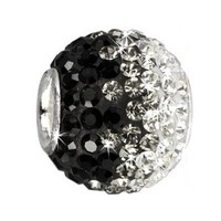 SilberDream Glitter Bead Swarowski Elements black ICE, 925 Sterling Silver Charms Bead, for Bead Bracelet, Necklace or Earring GSB003
