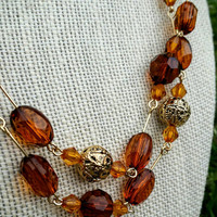 "Vintage Amber and Goldtone Filigree Bead Necklace, 41"" - Art Deco / Boho Chic / Retro / Stylish / Autumn / Fall"