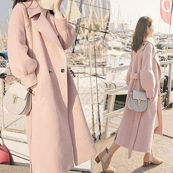 2019 Autumn Winter Woolen coats Women Lantern Sleeve Wool&blends Long Woolen Coat Casual Loose Wool Jacket Female Outwear