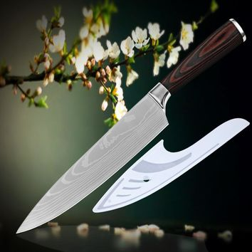 8 inch chef kitchen knife high carbon stainless steel Damascus veins new cooking tools pakka wood handle hot sell excellent gift
