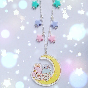 Little Twin Stars Falling Stars Necklace, Fairy Kei, Pastel Kei, Mahou Kei, Harajuku etc inspired
