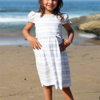 White & Striped Print Casual Dress w Puff Ruffle Sleeves for Spring & Summer Wear (Girls 2T to Size 8)