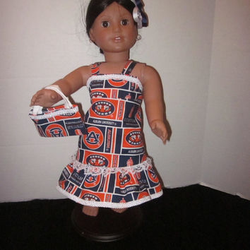 American Girl 18 Inch Doll Our Generation Dolls Auburn University Doll Dress W/Matching Purse And Hairbow By Sweetpeas Bows & More
