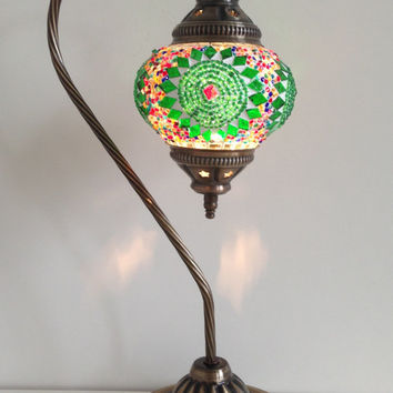 Green Turkish Mosaic Lamp With Vintage Style Swan Neck Metal Bas