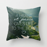 Heart at Peace Throw Pillow by Pocket Fuel