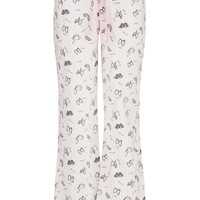 Butterfly Print Flannel Pants - White
