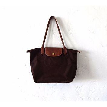 Longchamp Paris Brown Nylon and Leather Le Pliage Medium Tote Bag Purse