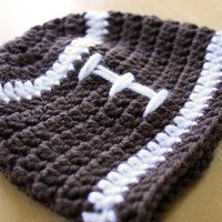 Football Hat, crochet, baby boy photo prop, brown and white, 12 Months to 4t