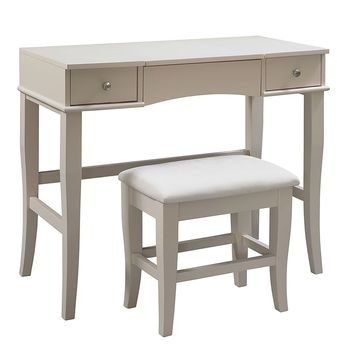 Cream Finish Vanity Set With Flip Top Mirror, Table, And Stool