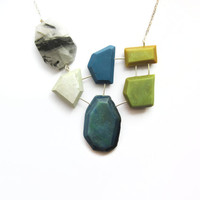 Blue green statement necklace, modern geometric jewelry, rutilated quartz, gemstone necklace, bold necklace, blue sterling silver necklace