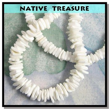 "Native Treasure - Whtie Rose Clam Chips Puka Shell Necklace or Bracelet - 7"" to 30"""