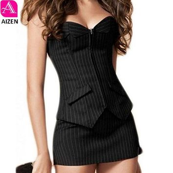 ICIKL3Z AIZEN Bustier Corset Skirt Dress Sexy Black Pinstripe Corselet Overbust Office Lady Lace Up Costume Plus Sizs zip Corsets mini