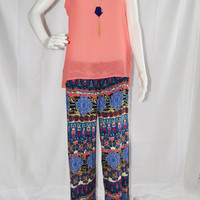 Bohemian Palazzo Pants/ Wide leg Boho Pants/ Casual Lightweight Bottoms/ Knit Beach Wear/ Custom Sizing