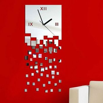 MOSAIC Pattern Clock Art 3D Wall Stickers Home Decoration