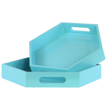 Light Blue Coated Finish Wood Hexagonal Serving Trays with Cutout Handles (Set of 2)   Overstock.com Shopping - The Best Deals on Accent Pieces