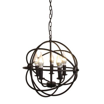 Modern Industrial Chandelier 5 Light Metal Globe