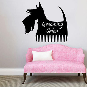 Grooming Salon Wall Decal Pet Shop Vinyl Sticker Decals Dog Comb Scissors Grooming Salon Decor Interior Art Murals Window Decal AN724