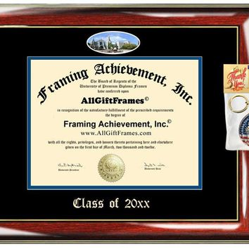 AllGiftFrames Custom Diploma Frame Creighton University Embossed Best Graduation Degree Frame Double Mat Campus Fisheye Picture Frame Cheap Degree Creighton Graduate Gift