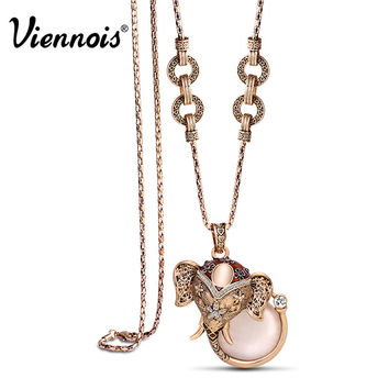 Newest Viennois Fashion Jewelry Elephant Animal Woman Long Chains Necklaces with Austrian Rhinestone and Opal Stones