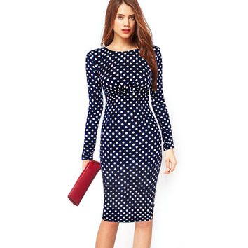 Women Dresses Plus Size 4XL with Long Sleeves Polka Dot Sheath Puff Natural Knee-Length Party Dress