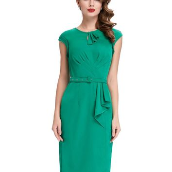 Short Prom Dresses Vintage Green Pencil Dress Robe Femme Belle Poque Cheap 50s Style Plus Size Retro Bodycon Sheath Formal Gowns