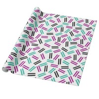 Purple blue lines pattern wrapping paper