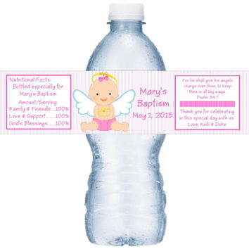 Pink Personalized Baptism Water Labels