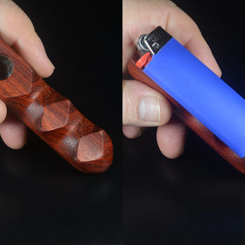 EMBER OUT PIPES • Bloodwood Smoking Pipe • Great Holiday Gift • Handcarved • Magnet Holds Lighter • Get Screens With Order