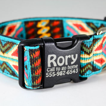"Custom engraved dog collar--Navajo Spirit dog collar 1.5"" extra wide in faux bead turquoise and red in southwestern pattern"