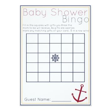 Nautical Baby Shower Bingo Game 5x7 Paper Invitation Card