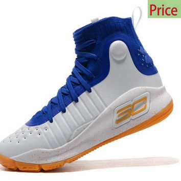 Buy 2018 Mens Under Armour Curry 4 Mid Basketball Shoes White Royal Blue Orange sneaker