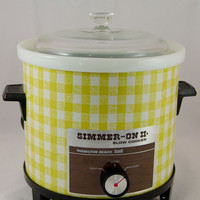 Vintage 1970s NOS Crock Pot Slow Cooker - Yellow Plaid - New In Box, Unused