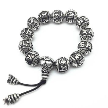 Retro Vintage Tibetan Silver Buddhism Mantras Bracelet Men Amulet Six Words Om Mani Padme Hum Lotus Beads Bracelet For Women