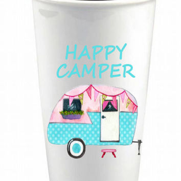 Vintage Camper Custom Ceramic Coffee Cup - Happy Camper Coffee Cup - Camping Coffee Cup - Travel Mug - Vintage Happy Camper Custom Mug