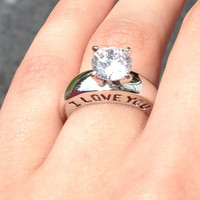 """Engraved """"I Love You"""" Ring Size 5 Cz Diamond and Silver"""