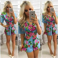 Fashion Flower Print V-Neck Short Sleeve Romper Jumpsuit Shorts
