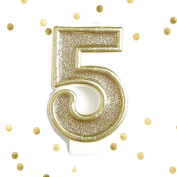 Light Gold Glitter Birthday Candle Number 5 Gold & White Anniversary Cake Topper Five