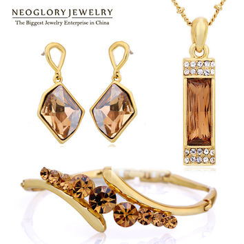 Neoglory MADE WITH SWAROVSKI ELEMENTS Crystal African Beads Jewelry Set Wedding Charm Gifts 2017 New JS9 G1