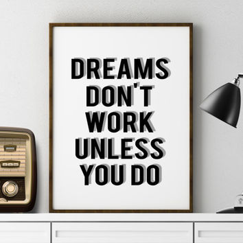 "INSPIRATIONAL ""Dreams Don't Work Unless You Do"" Walt Disney Quote Inspirational Art motivational Print Kids Room Decor Wall Art Nursery Art"