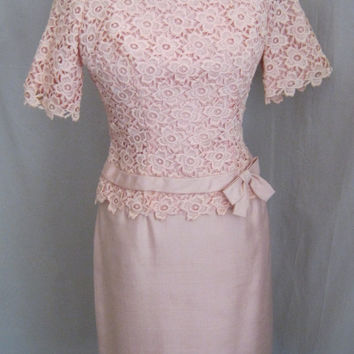 Vintage 60s SILK Shantung Party Dress with Guipure LACE Bodice Retro WEDDING Cocktail Bust 38""