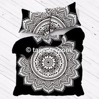 Black and White Ombre Mandala Duvet Doona Cover Comforter Queen Size Quilt Set