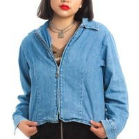 Vintage 90's Zip-Front Jean Jacket - One Size Fits Many