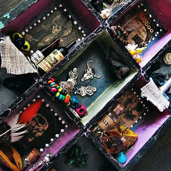 New Orleans House of Voodoo Shadow Box - Boho Decor - Wall Hanging Curiosities Altar - Marie Laveau Cabinet - Voodoo Shop Miniature