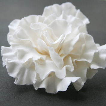 White wedding hair flower, Bridal hair flower, Bridal flower hair clip,  Bridal hair clip, Hair clay flower,  Bridal hair accessories