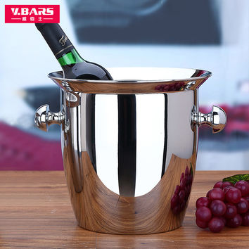 Red Wine ice-pail cooler box thickening stainless steel champagne bucket big Small ice bucket