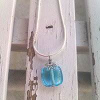 """Something blue necklace Simple blue ice glass pendant on a 16"""" chain"""