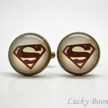 Steampunk Superman cuff links ,retro Superhero Glass Art Cufflinks,Cabochon Mens Accessories = 1946622084