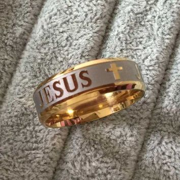 DCCKU62 High Quality   Plated 316L Stainless Steel Finger Ring For man Woman Jesus Cross Rings Fashion Religious Jewelry