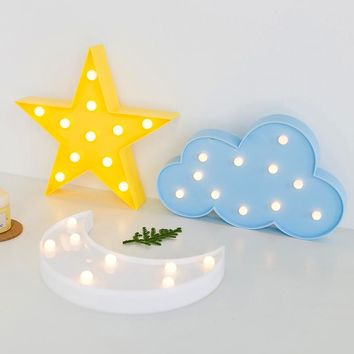 3D LED Moon Cloud Stars with Battery Table Lamp